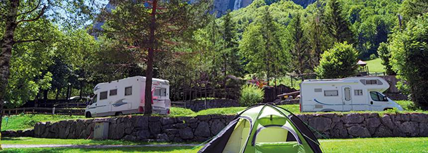 Typical pitches, Camping Jungfrau, Lauterbrunnen, Switzerland