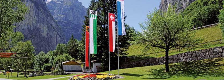 Site entrance, Camping Jungfrau, Lauterbrunnen, Switzerland