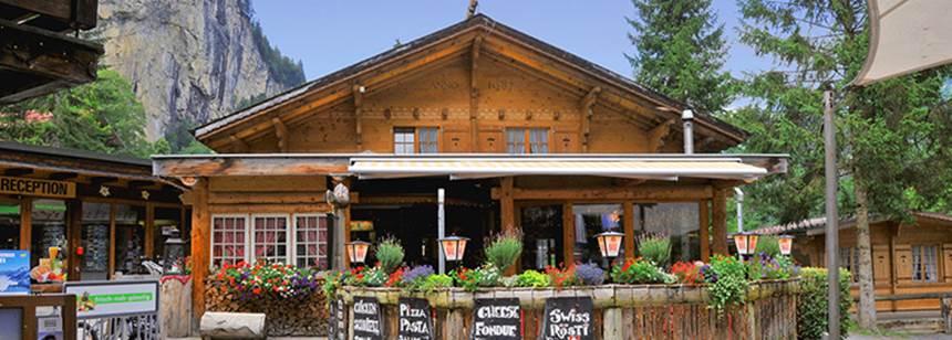The sites traditional Bar/Restaurant, Camping Jungfrau, Lauterbrunnen, Switzerland