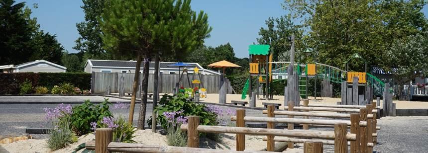Play area at campsite Domaine de Beaulieu near St.-Gilles-Croix-de-Vie, Vendée, France