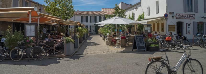 Village scene on the Atlantic island of Ile de Ré, France