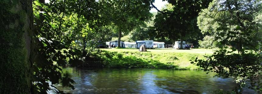 The river running alongside Cobleland Campsite