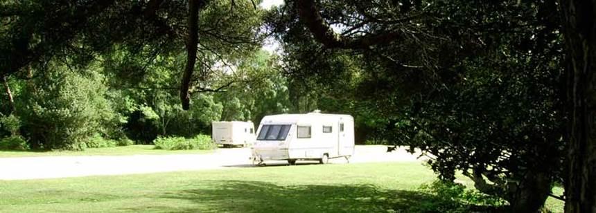Caravan pitched up on Ocknell Campsite