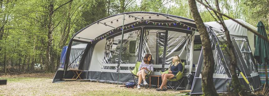 Campers relaxing in awning on our Setthorns Campsite