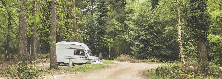 Caravan pitched up on Setthorns Campsite