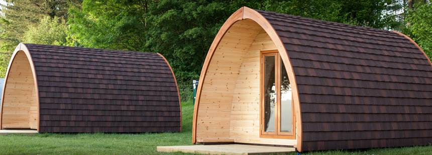 Camping pods on our Bracelands Campsite