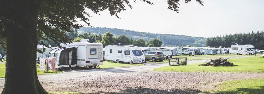 Caravans pitched on Bracelands Campsite