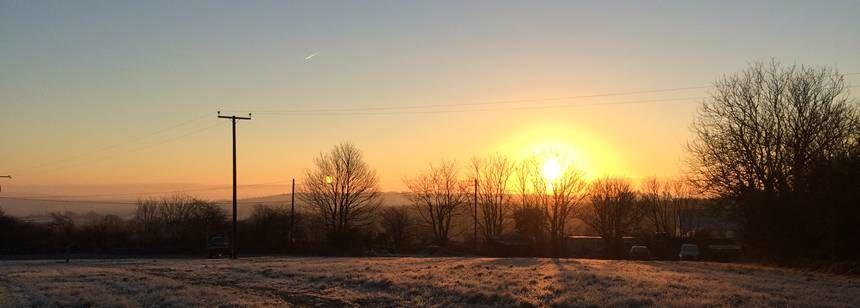 Lovely sunrise over the site