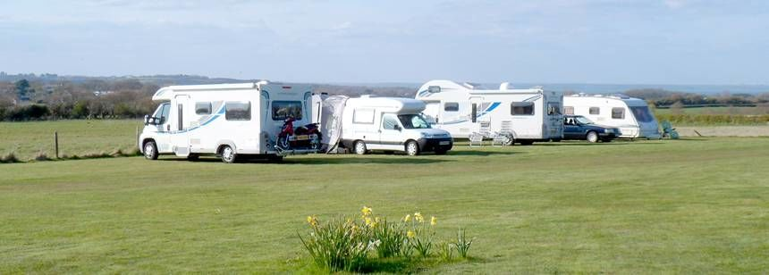 Caravans on the camping field at Water Mill Heights