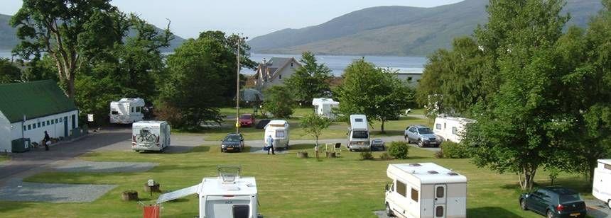 Lochside mountain view at Reraig Caravan Site