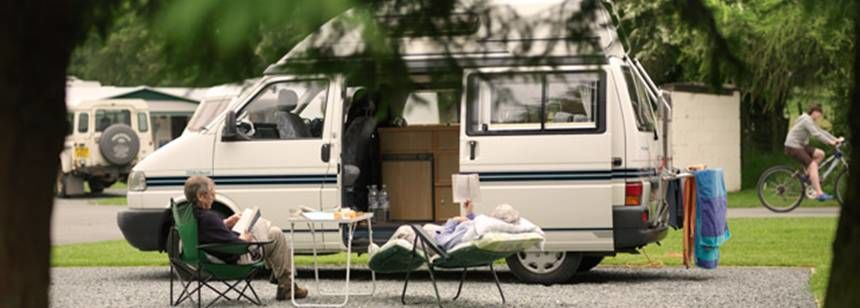 Couples Relaxing by Their Campervan, Bala Camp Site, Gwynedd