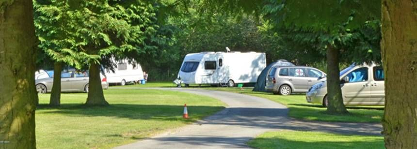 Shaded Pitches by the Wooded Drive of Bala Camp Site, Gwynedd