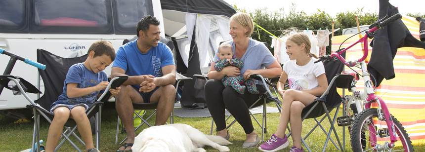 Family enjoying time on Bude Campsite