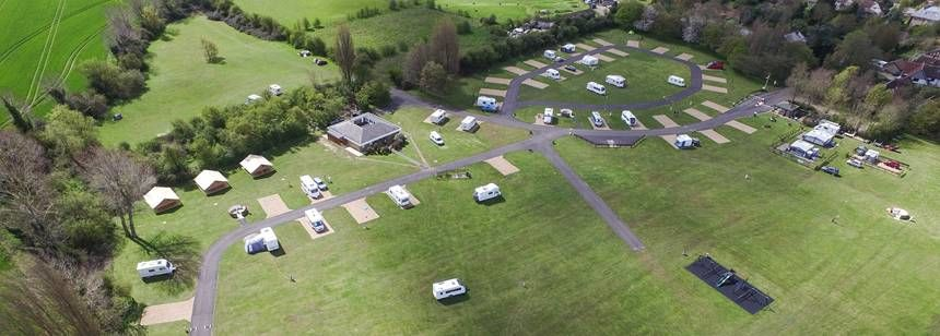 Aerial shot of Cambridge campsite