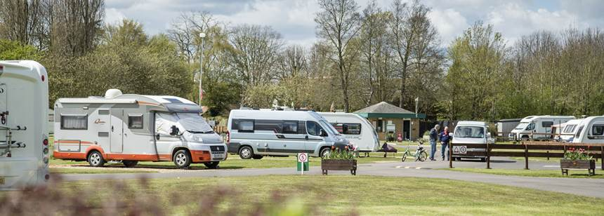 Motorhomes pitched up in Cambridge