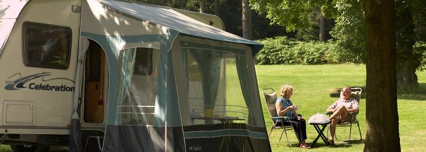 Shaded Hard Standing Pitches in Cannock Chase Camp Site, Staffordshire