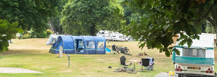 Tents and caravans pitched on Cannock Chase Campsite