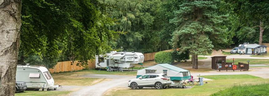 Caravans and trailer tents pitched on Cannock Chase Campsite