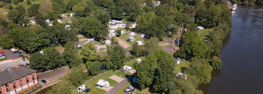 Grass and Hard Standing Pitches For Motorhomes, Caravans and Tents Chertsey Camp Site, Surrey