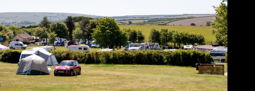 Family walking through Lynton campsite