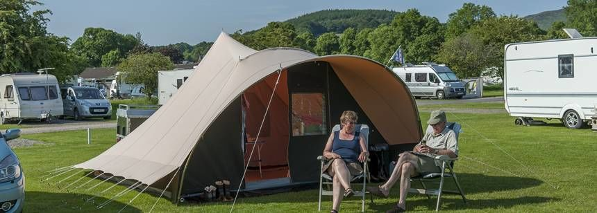 Grass pitches at Moffat campsite