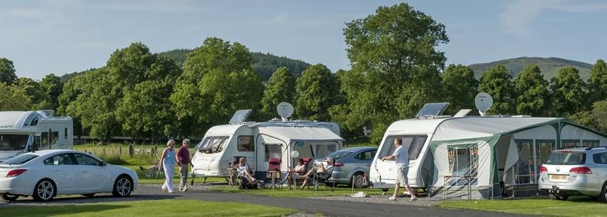 Grass pitches on Moffat campsite