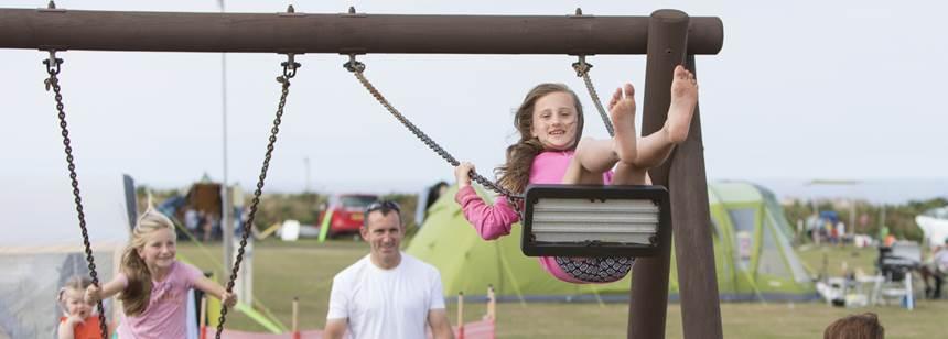 Kids enjoying Sennen Cove Campsites play area
