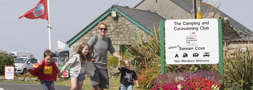 Family enjoying a walk from Sennen Cove Campsite
