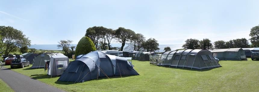 Grass Pitches at the Slapton Sands Camp Site Overlooking a Stunning Back Drop