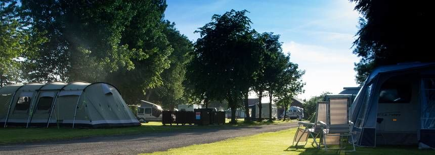 Grass Pitches of the Slingsby Camp Site Overlooking the Countryside of Yorkshire