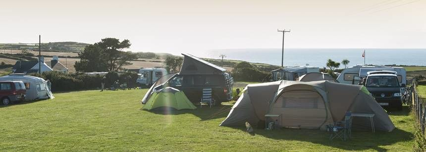 Ocean Views From Your Grass Pitch at St David'S Camp Site Pembrokeshire