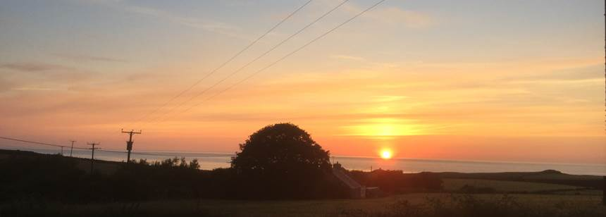 Sunset view from St Davids Campsite in Pembrokeshire