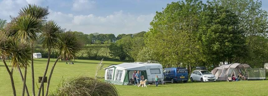 A Couple Just Arrived at the Veryan Camp Site, Cornwall