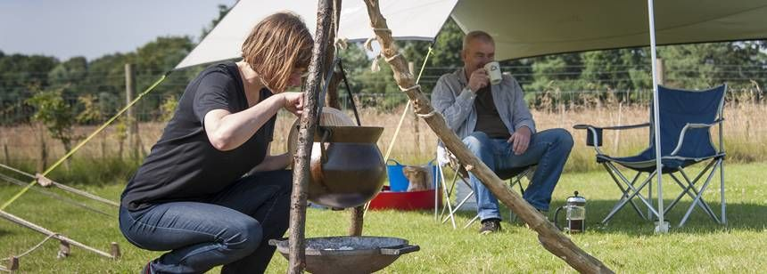 Cooking Dinner the Old Fashioned Way at the Woodhall Spa Camp Site, Lincolnshire