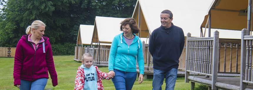 family walking on Alton Club Site