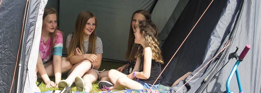 Girls in tent on Blackmore Club Site