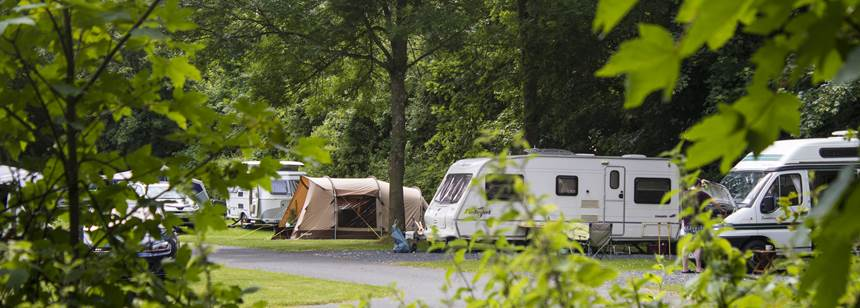 Caravans and tents pitched up on Blackmore Club Site