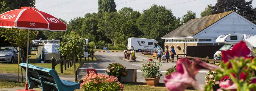 Motorhome with awning on Canterbury campsite