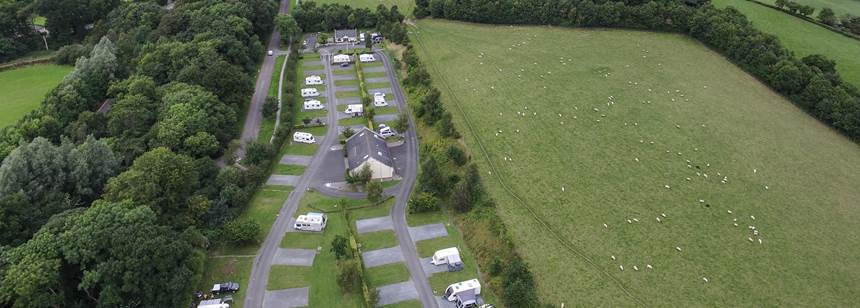 Aerial shot of our campsite in Northern Ireland
