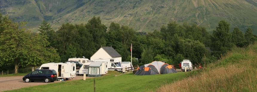 Tent Pitches Overlooked by the Forests of Glencoe Camp Site, Argyll
