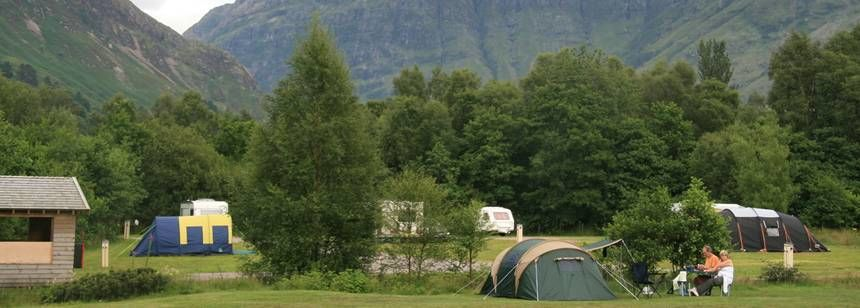 Tent Pitches Overlooked by the Mountains Surrounding Glencoe Camp Site, Argyll