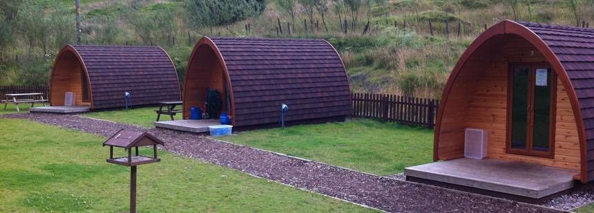 Camping pods at Hayfield Camp Site, Derbyshire