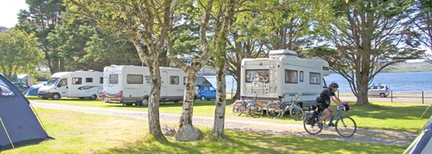 Grass Pitches Directly on  the Banks of Loch Ewe