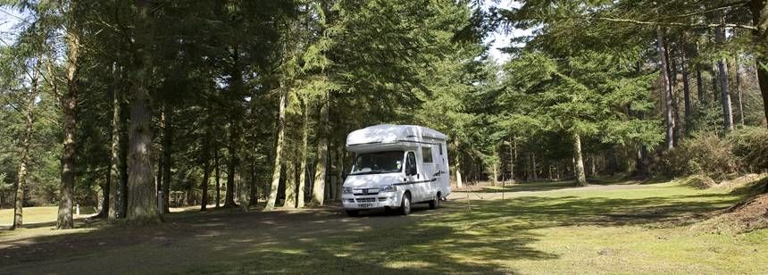 A Motorhome Pitched in a Shaded Spot at the Nairn Camp Site, Inverness