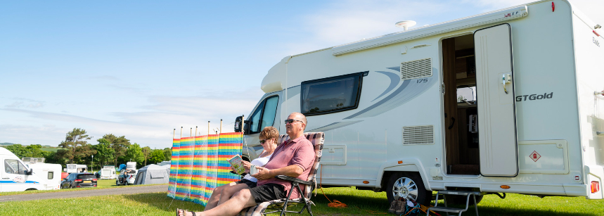 2 Couple Enjoying Each Others Company at the Scarborough Camp Site, North Yorkshire