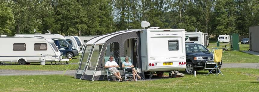 Grass pitches on Scone campsite