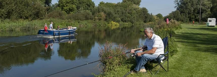 Fishing at St Neots campsite