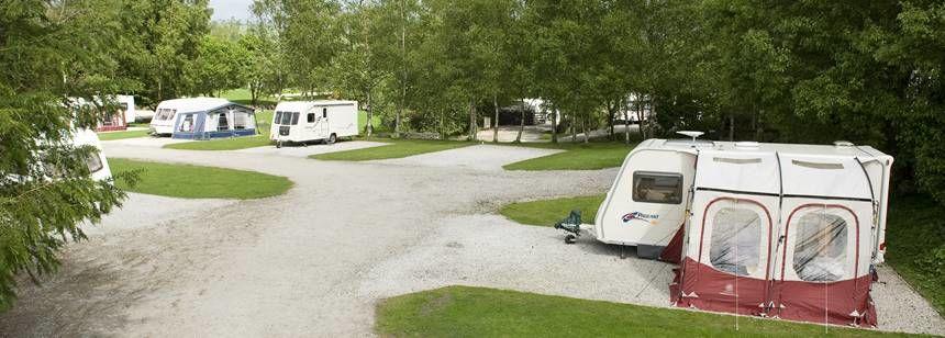 Caravans on hardstanding pitches at Windermere campsite.