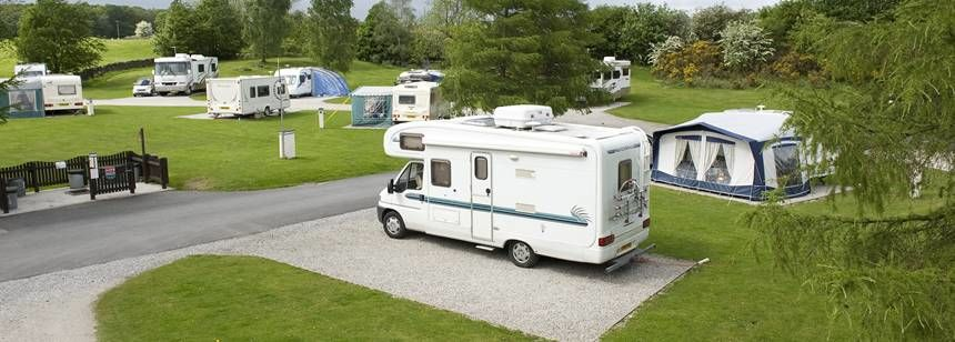 Picturesque views of the Windermere campsite and the Lake District.