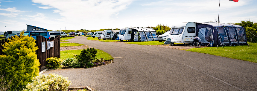 Grass Pitches For Your Camper, Caravan and Tent Beadnell Bay Camp Site, Northumberland